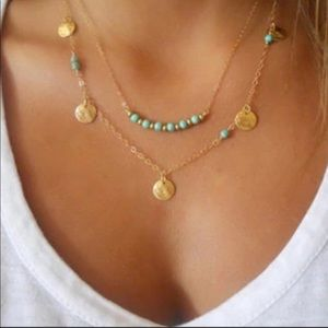 Jewelry - ⭐️🌟Gold and Blue Boho Necklace.New